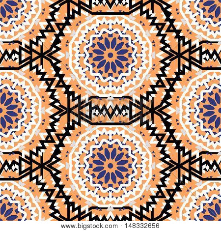 Vector tribal colorful bohemian pattern with big abstract flowers in orange colors. Geometric boho chic background with Arabic, Indian, Moroccan, Aztec ethnic motifs. Bold ethnic print with mandalas