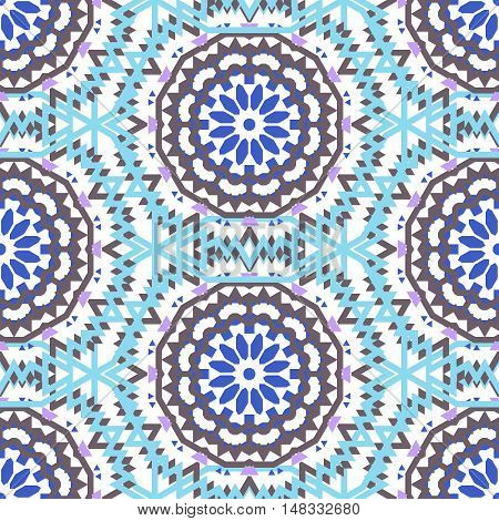 Vector tribal colorful bohemian pattern with big abstract flowers in soft blue color. Geometric boho chic background with Arabic, Indian, Moroccan, Aztec ethnic motifs. Bold ethnic print with mandalas