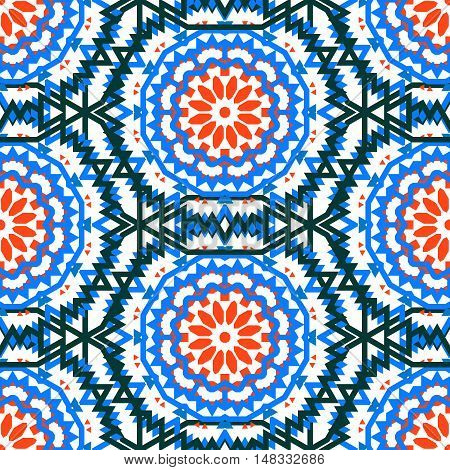 Vector tribal colorful bohemian pattern with big abstract flowers in vibrant colors. Geometric boho chic background with Arabic, Indian, Moroccan, Aztec ethnic motifs. Bold ethnic print with mandalas