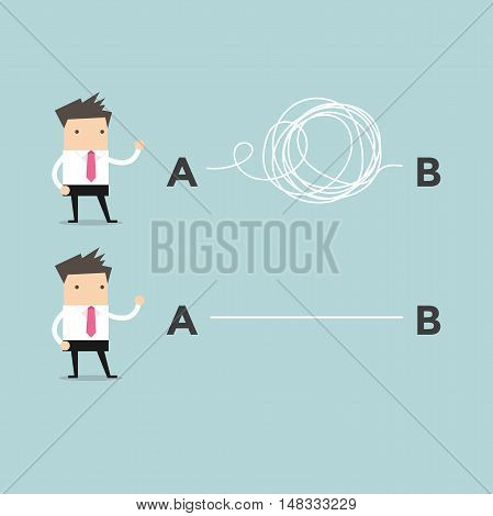 Businessmen one with clear plans the other with chaotic plans. Vector