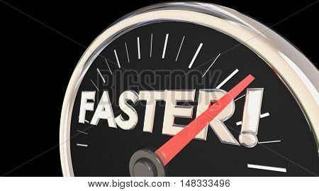 Faster Word Speedometer Quick Action Acceleration 3d Illustration