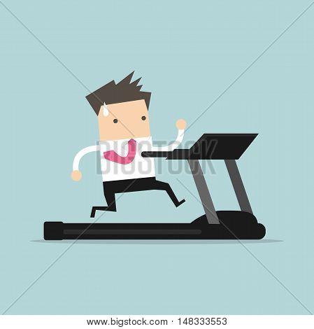 Business man running on treadmill. vector illustration