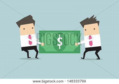 Two businessmen are pulling the dollar to each other. vector