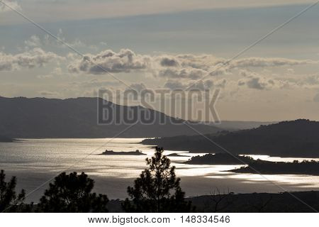 Arenal Lake Reflecting The Sun