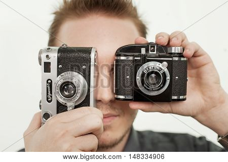Man With Vintage Camera