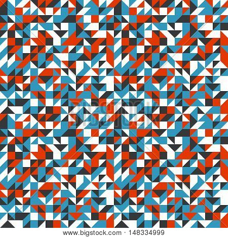 Vector geometric seamless pattern with small triangles in bright colors. Modern bold print with small shapes for fall winter fashion. Abstract dynamic techno op art background. Geometry and mosaic