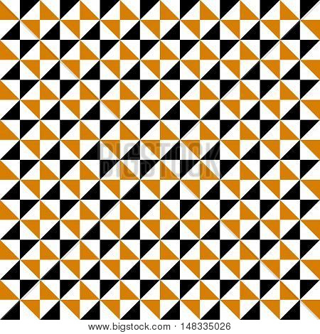 Small geometric abstract mosaic pattern with triangle and simple shapes in brown, white, black colors for fall winter fashion. Abstract techno op art background. Seamless vector geometry textile print