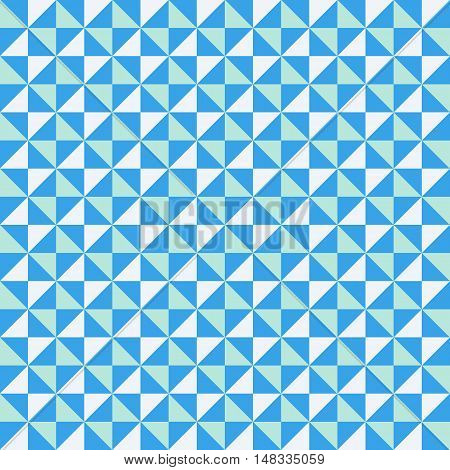 Small geometric abstract mosaic pattern with triangles and simple shapes in bright blue color for fall winter fashion. Abstract techno op art background. Seamless vector textile print in memphis style