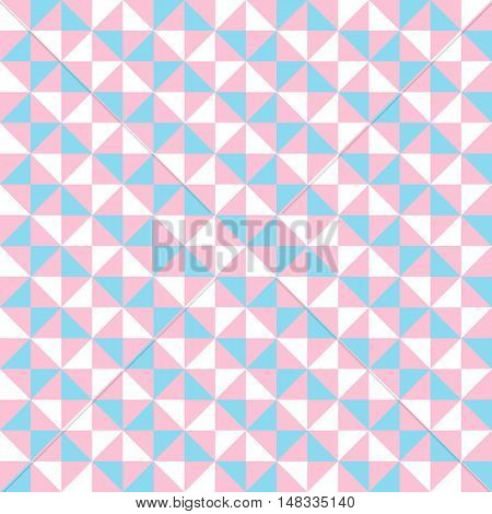Small geometric abstract mosaic pattern with triangles and simple shapes in pink, white, blue colors for fall winter fashion. Abstract techno op art background. Seamless vector print in memphis style