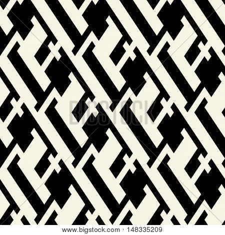 Vector geometric seamless pattern with lines stripes and abstract shapes in black and white. Modern bold print with monochrome shapes for fall winter fashion. Abstract dynamic techno op art background