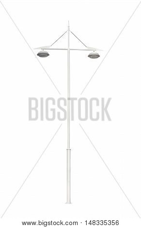 metallic street lamppost isolated on white background