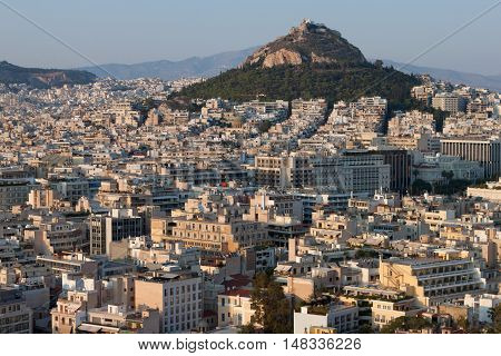 View of Athens and Lecabetus Hill also known as Lykabettos. Athens, Greece.