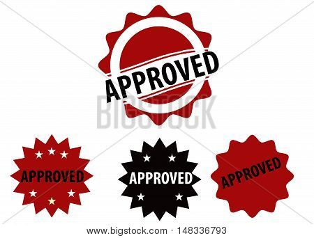 Approved stamp design isolated in white background