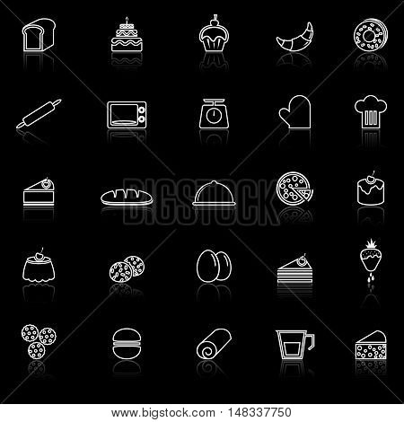 Bakery line icons with reflect on black background, stock vector