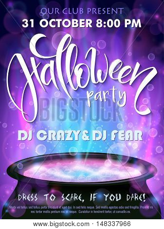 vector halloween party invitation poster with hand lettering greetings label - happy halloween - with boiling witch cauldron on background.