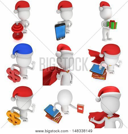 3d man brave superhero santa wear red cloak and santa claus hat. 3D render set isolated on white background.