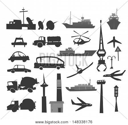 Set of transport icons, lorries, cars, airplane, boat, ships, helicopter