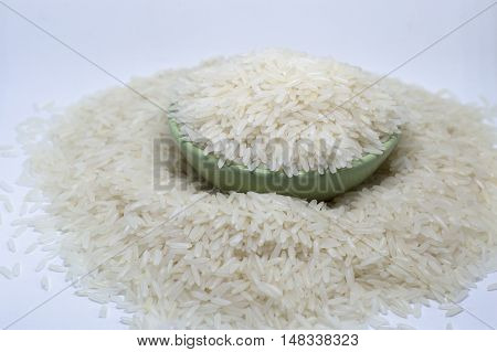 Rice, white rice, utensils, cups, greens, whole grains, dried food, Thailand.