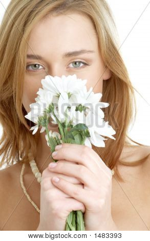Girl With White Chrysanthemum