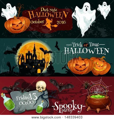 Design for Halloween signboards and posters with vector elements of pumpkin lantern, white flying ghosts, haunted vampire castle with midnight full moon background. Posters text Trick or Treat, Dark Night Spooky Party