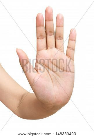 Woman hand showing the five fingers isolated on a white background Clipping path included.