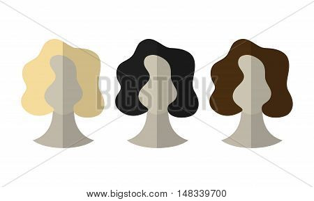 Flat icon hairstyles. Blonde, brunette. Different color hair wigs. Vector illustration