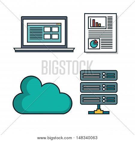set elements data center desing isolated vector illustration eps 10