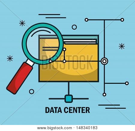 data center files folder search isolated vector illustration eps 10