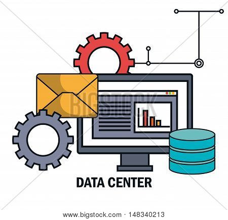 data center email work isolated vector illustration eps 10