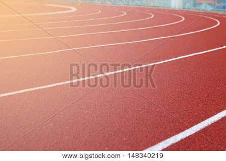 running track with lighting back ground close up