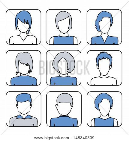 Set of Icons female avatars for profile page, social network, social media. Flat Line design graphic image concept