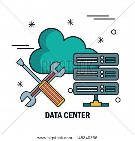 support cloud data center isolated vector illustration eps 10