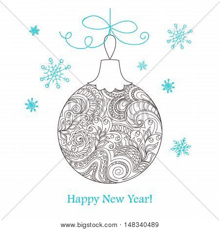 Festive card with Christmas ball decorated hand drawn doodle tangled flowers and snowflake isolated on the white and text Happy New Year. Image can use for adult coloring book. eps 10