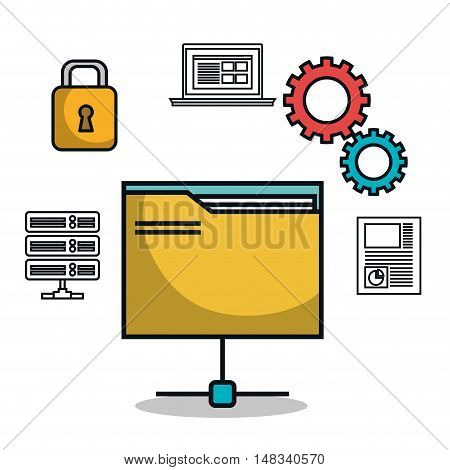 data base folder file archive work isolated vector illustration eps 10