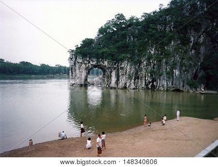 GUILIN / CHINA - CIRCA 1987: A view of Elephant Trunk Hill, on the Li River in Guilin.