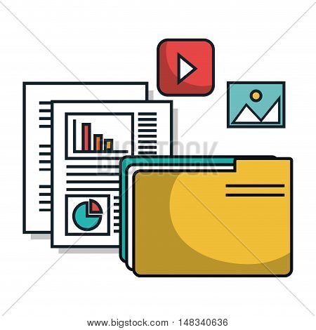 data center server files archives papers isolated vector illustration eps10