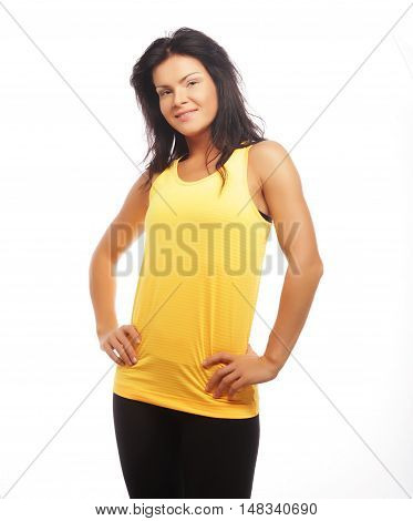 Portrait of a sporty woman. Diet, healthy lifestyle. Isolated on white background.