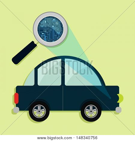 Car, Magnifying Glass And Electronics