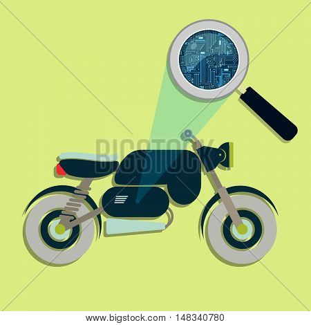 Motorcycle, Magnifying Glass And Electronics