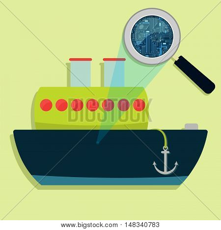 Ship, Magnifying Glass And Electronics