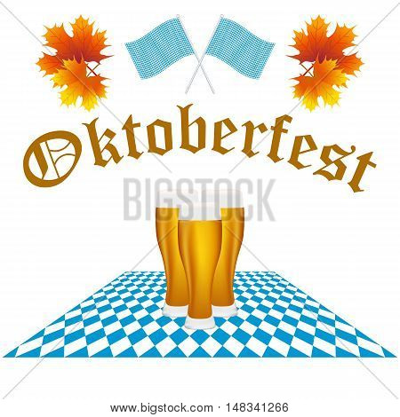 Festival Oktoberfest in the fall and beer glasses in maple leaves