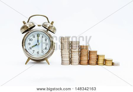 Tax Concept With Coins Stack,finance Concept On White Background.