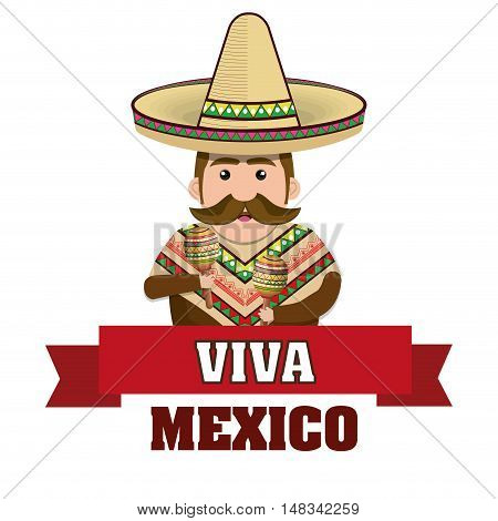 man mexican with hat and cloths traditional graphic vector illustration eps 10