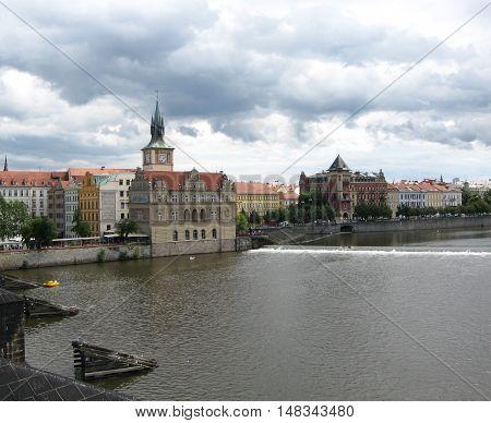 Prague, Vltava river, View from the Charles Bridge
