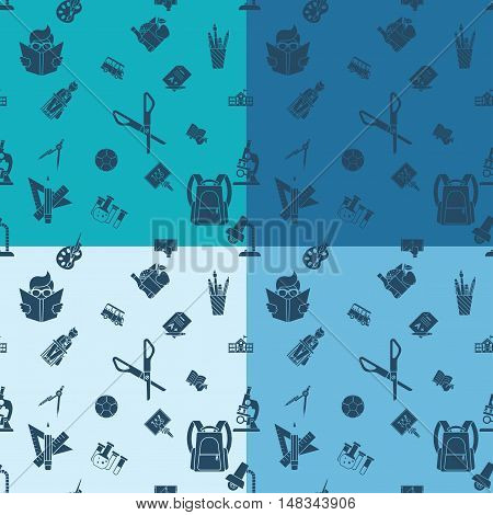 School Seamless Pattern. Four Background in Different Colors. Vector. Flat design style