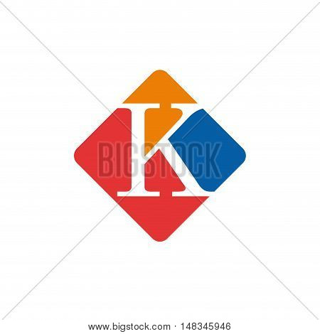 Vector color sign initial letter K isolated in white