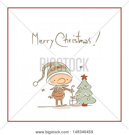 Christmas elf, Merry Christmas greeting card. Sketchy doodle style hand drawn seasonal vector illustration.