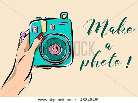 Illustration of a hand holding a photo camera. EPS