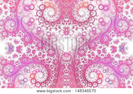 Abstract intricate spiral ornament on white background. Symmetrical pattern. Fantasy fractal design in bright pink colors.