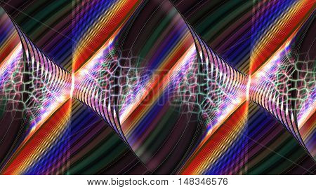 Multicolored stripes. Abstract fantasy mosaic ornament. Fractal illustration in red yellow blue white and black colors.